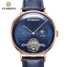 STARKING جديد وصول التلقائي ساعة الفولاذ المقاوم للصدأ الرجال الفاخرة العلامة التجارية 50 متر مقاوم للماء ساعة اليد الميكانيكية القمر المرحلة ساعة الرجال