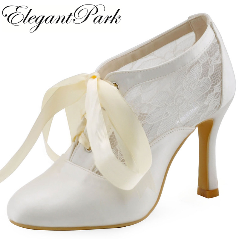 winter autumn Women Shoes HC1529 Ivory Round Toe woman Boots Lace up High Heel Satin Lady