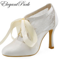 Free Shipping 2015 HC1529 White Round Toe Women Satin And Lace Pumps High Heel Wedding Bridal
