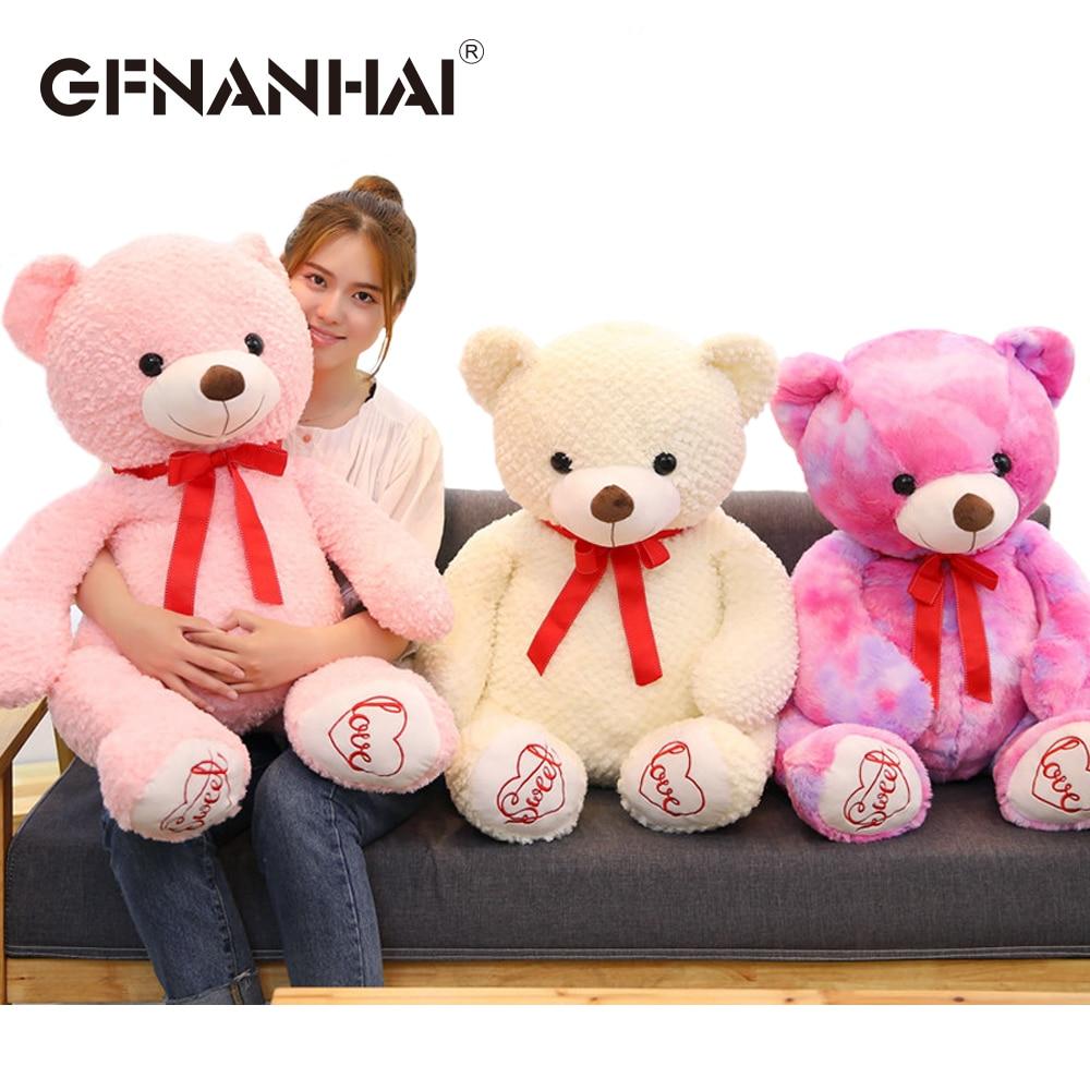 1 pc 100 cm énorme taille mignon ours en peluche en peluche peluche doux ours d'amour avec des écharpes rouges poupées pour enfants filles cadeau d'anniversaire