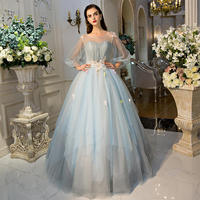 XIANSHOUMEI Appliques Prom Dress with Square Quarter Sleeve Ball Gown Beading Evening Party Dresses