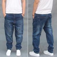 Splicing Denim Pants Hip Hop Harem Jeans Vintage Mens Clothing Loose Baggy Fashions Trousers Blue high Quality Jeans Joggers