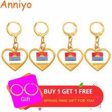 Anniyo Kiribati and Boboto Flag Earrings for Women Girl Kids Gold Color Ethnic Patriotic Gifts #122906