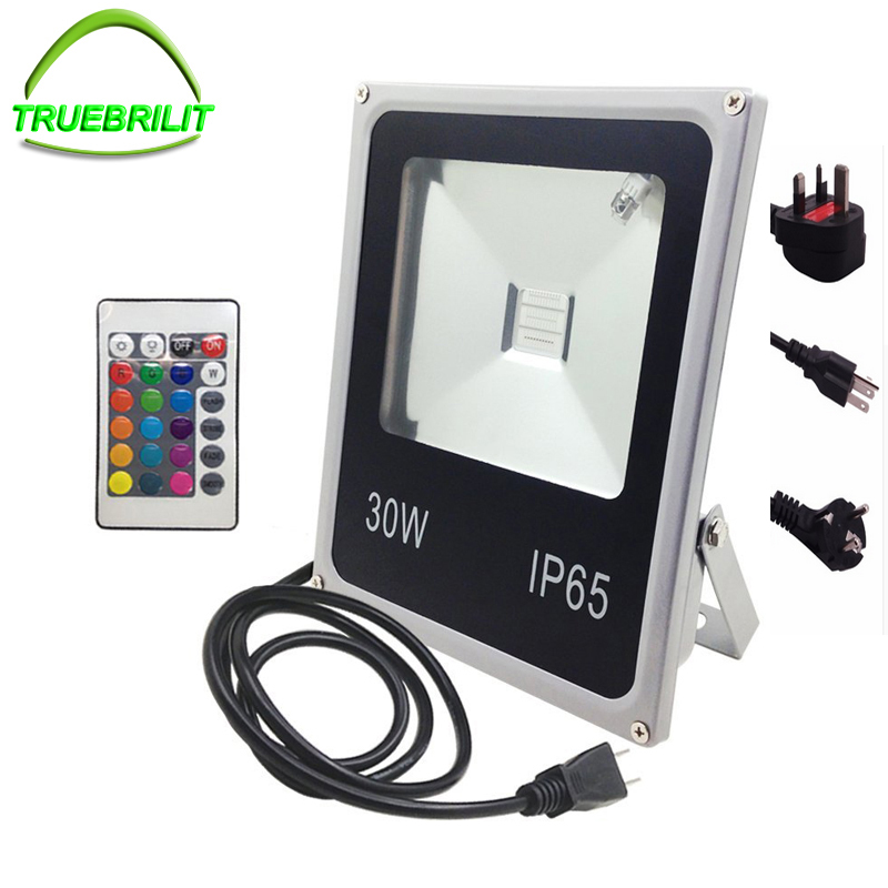 LED Flood Lights 10W 20W 30W 50W RGB Fjernbetjening 24Kontrolleren Vandtæt IP65 Floodlight Garden Spotlight med plugOutdoorLamp