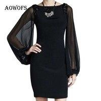 1Piece Black Color Dress Long Puff Sleeve Chiffon Material Size L XL XXL XXXL Brief Style