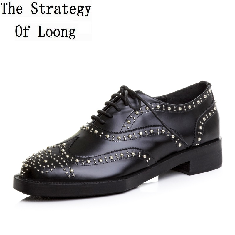 Women Genuine Leather Low Cut Punk Style Rivets Shoes Spring Atumn Lady Real Leather Lace Up Low Heels Shoes 20180325 europe america style spring autumn women genuine leather thin high heel lace up low cut fashion denim shoes size 34 41 sxq0709