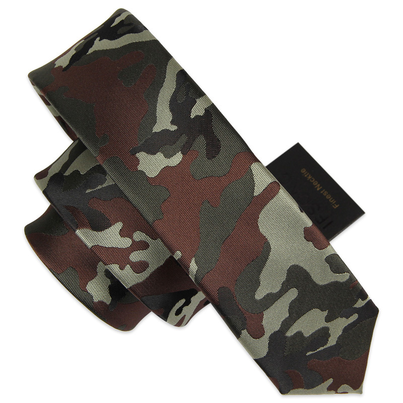 High Quality Camouflage Tie Fashion 5cm Slim Ties For Men Camouflage Army Uniform Necktie Student Military Training Green Tie