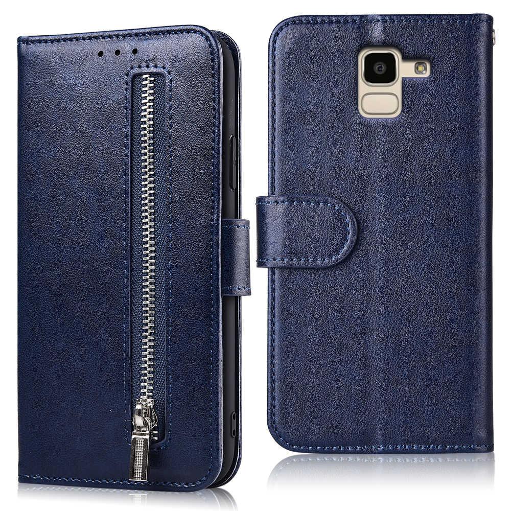 Dành cho Samsung Galaxy Samsung Galaxy J6 2018 J600 J600F SM-J600F Da Khóa Zipper Da Ốp Lưng Có Dây Đeo Cho Samsung J6 2018 Chân Đế ốp lưng
