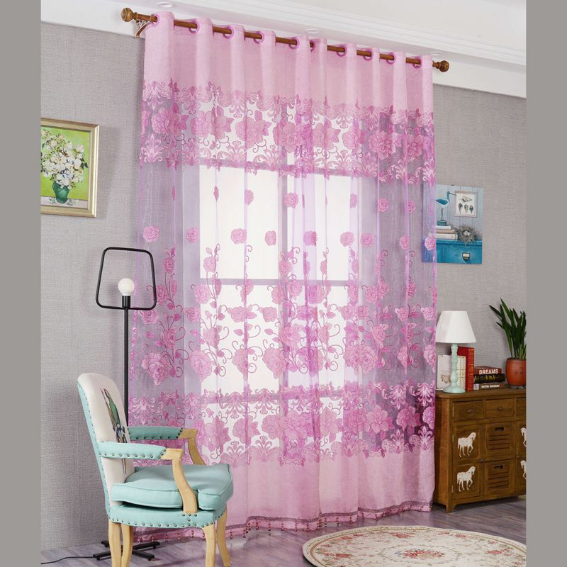 1 Pc Curtain And 1 Pc Tulle Peony Luxury Window Curtains: 1pc New Europe Style Curtain Burnout Peony Pattern Tulle