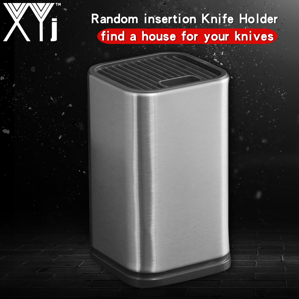 XYj Professional Stainless Steel Kitchen Knife Holder Stand Chef Knife Set Block Tool Knife Seat Holder Insert Rack Kitchenware