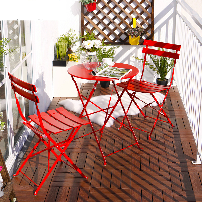 Balcony Table and Chair Sets Three Iron Table Furniture Folding ...