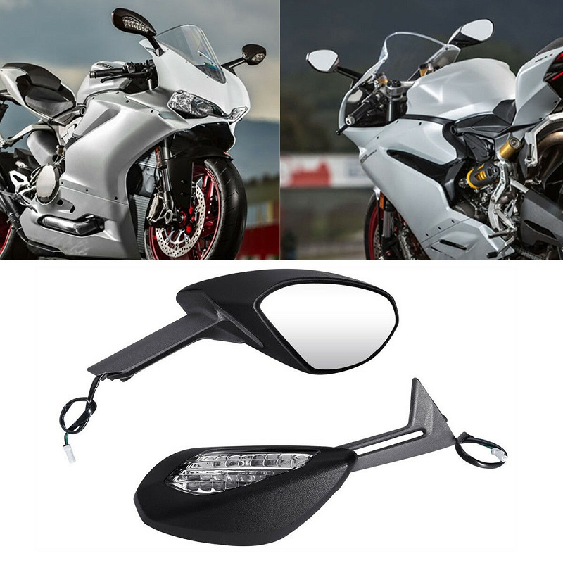 Right Side Ducati 899 1199 Panigale S R Black Turn LED light Mirrors 2014 13 12