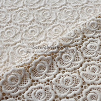 120cm by yard Free shipping embroidery water soluble rose flowers lace fabrics handmadeGarment fabric