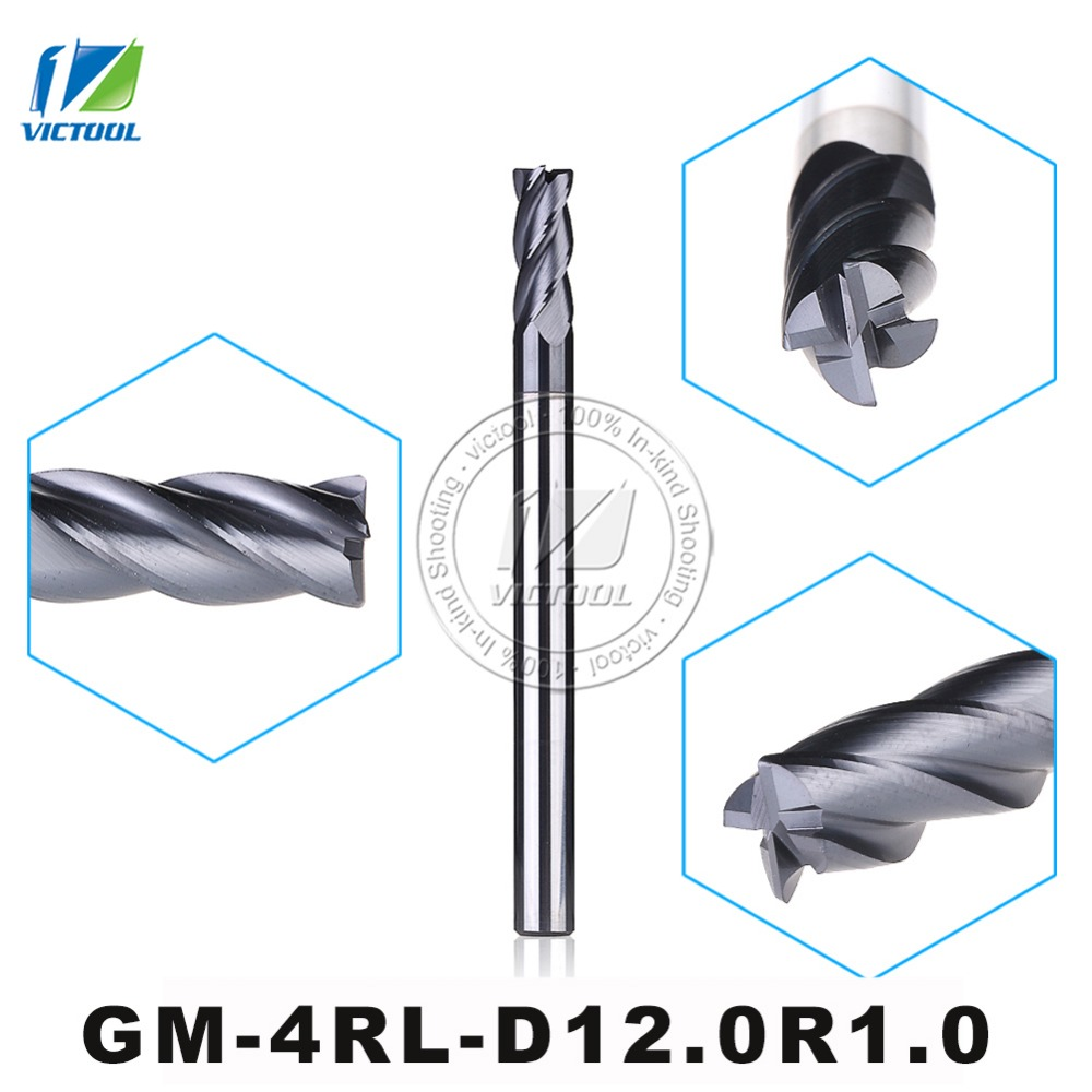 GM-4RL-D12.0R1.0 Cemented Carbide 4-Flute R End Mill Straight Shank long Shank Milling Cutter Metal Drill Bits Cutting Tools 1pcs 8 8mm hss cnc straight shank 4 flute end mill milling cutter metal drill bits cutting tools p0 05