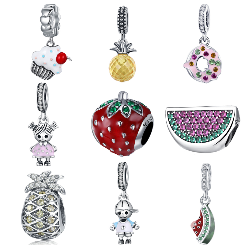 BISAER Hot Sale 925 Sterling Silver Pineapple Fruit Watermelon Cake Food Strawberry Charm Fit Charm Bracelet Silver 925 Jewelry(China)