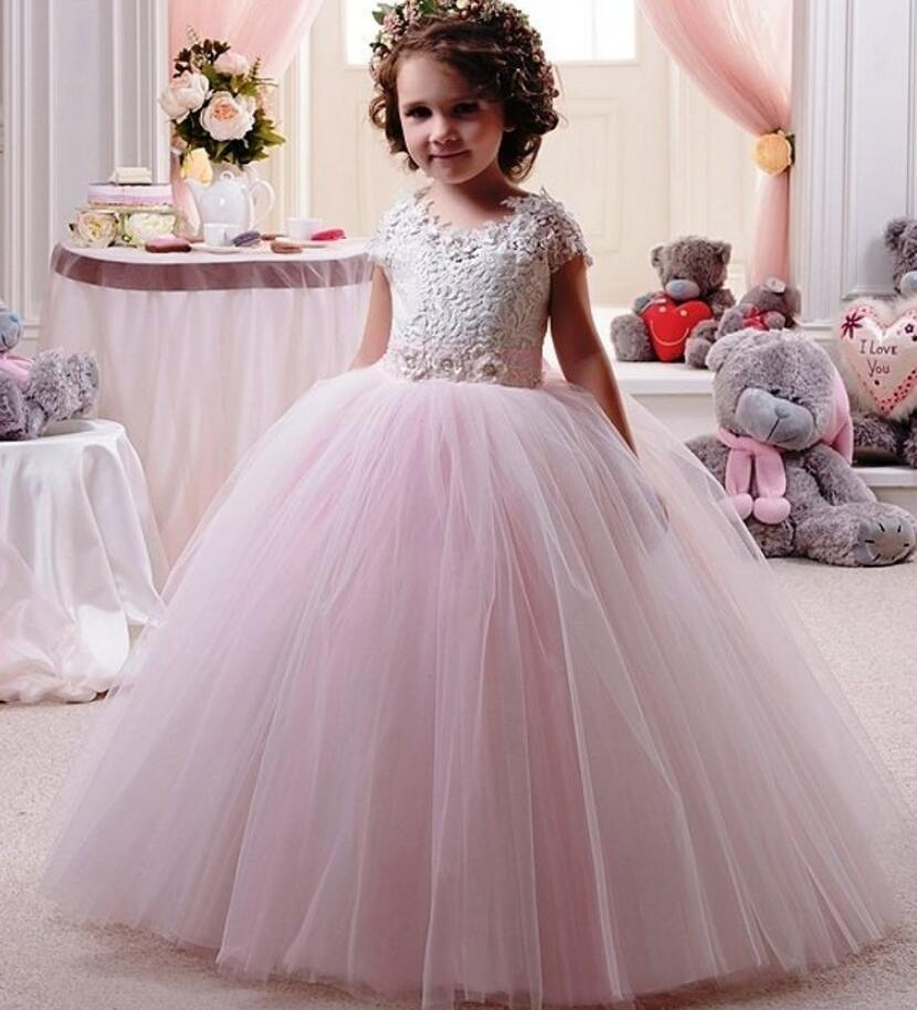 Cap Sleeves 2019   Flower     Girl     Dresses   For Weddings Ball Gown Tulle Appliques Lace Long First Communion   Dresses   For Little   Girls