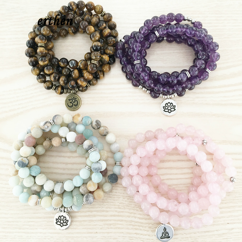 MEIZHIER Natural Stone Bracelet 108 Mala Yoga Necklace