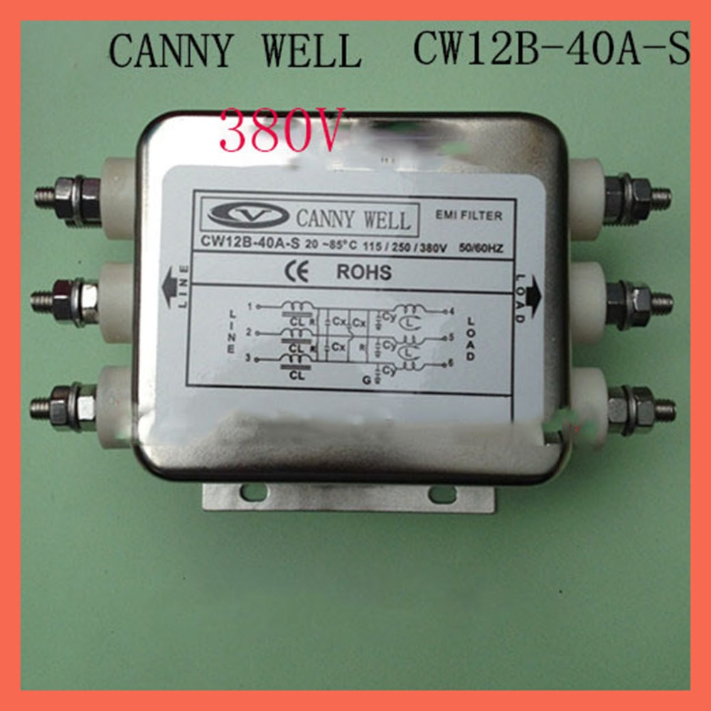 Large current 40A three-phase 380V EMI Filter CW12B-40A-S Power supply filter, bolt connection cw4b 30a s emi power filter 380v 30a