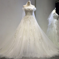 QQ Lover серебро край кружева маленький поезд свадебное платье топ аппликации Плюс Размеры заказ Vestido De Noiva