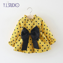 Newborn Baby Girls Snowsuit Winter Cute Bow-knot Dresses Kids Thick Warm Cotton Clothes Overalls for Tops