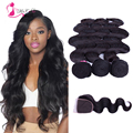 Peruvian Virgin Hair With Closure 3 pcs ,7a Peruvian Body Wave With Closure,Queen Hair Products With Closure Bundle for beauty