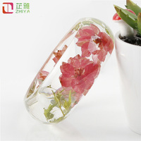 ZYA 2016 Series Fashion Clear Resin Bangle Bracelet With Real Dried Pink Flowers