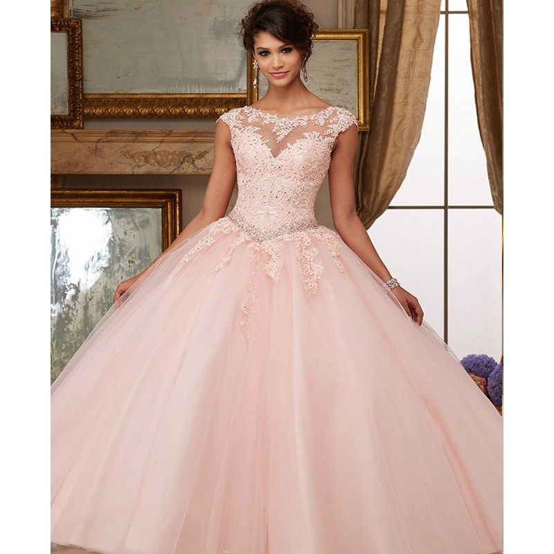 Puffy Peach 2019 Cheap Quinceanera Dresses Ball Gown Cap Sleeves Tulle Appliques Lace Crystals Sweet 16 Dresses