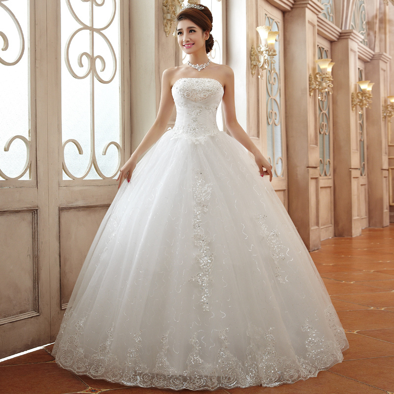 Free Shipping2014 Tube Top Wedding Gown White Lace Luxury