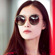 2019 Vintage Brand Design Round Sunglasses Women Twin Beams Alloy Frame Ladies Sun Glasses Men Shades Anti-Reflective Eyewear