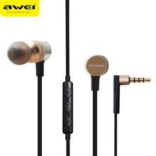 Es-20ty awei en la oreja los auriculares de 3.5mm jack auriculares super bass auriculares con micrófono de metal auriculares fone de ouvido kulakl k