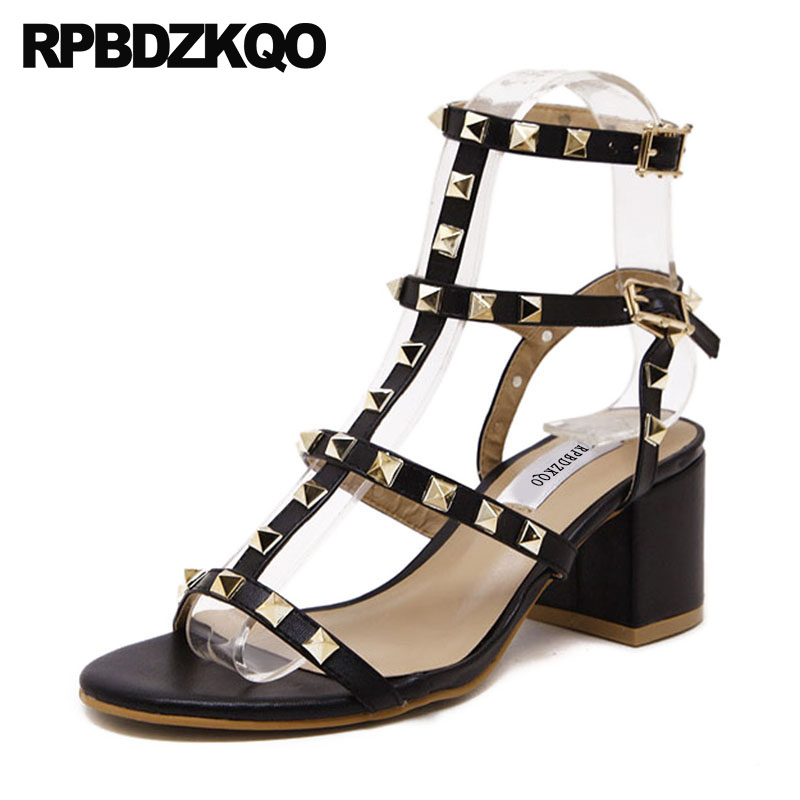 Slingback Thick Luxury Strappy Rivet Rock Stud Shoes Women Square High Quality Black Gladiator Sandals Heels Pumps Block T Strap women chic champagne patent leather sandals square thick high heels pumps covered heel single strap gladiator shoes golden pumps