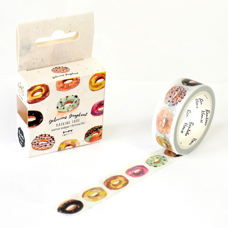 1.5*7M Wind Delicious Doughnut washi tape DIY decorative scrapbooking masking tape adhesive label sticker tape stationery aagu 1pc 8mm 7m label stationery red black dot stripe washi tape decorative masking tape lovely high viscosity paper sticker