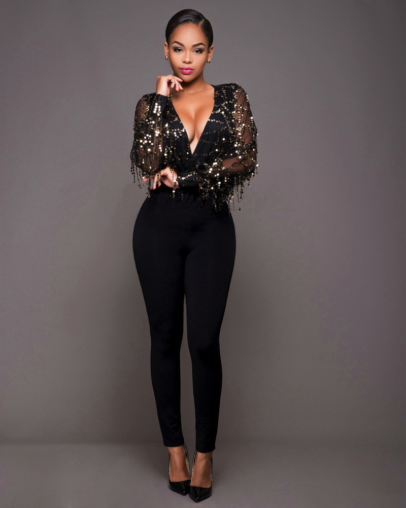 76a0b6e37a3c 2019 Sexy Black Tassel Sequin Jumpsuit Rompers Fall Womens ...