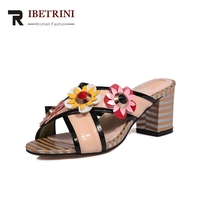 38e519f9b RIBETRINI New Genuine Leather Square High Heels Best Quality Flower Shoes  Woman Casual Outside Summer Pumps
