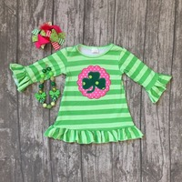St Martin S Girls Baby Children Clothes Cotton Spring Striped Green Ruffles Shamrocks Dress Boutique Sleeve