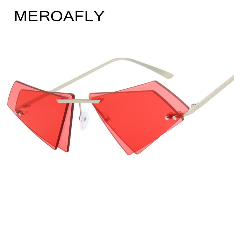 MEROAFLY Unique Rimless Women Sunglasses Fashion Double Lens Cat Eye Men Red Clear Lens Sun Glasses UV400 Vintage Shades 2018