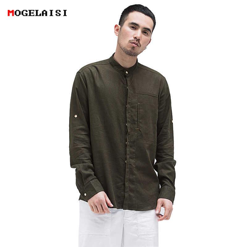 810bd224005 Китайский стиль 2018 Новый Ретро льняные рубашки мужчин сплошной Стенд  воротник удобные натуральных материалов белье хлопок