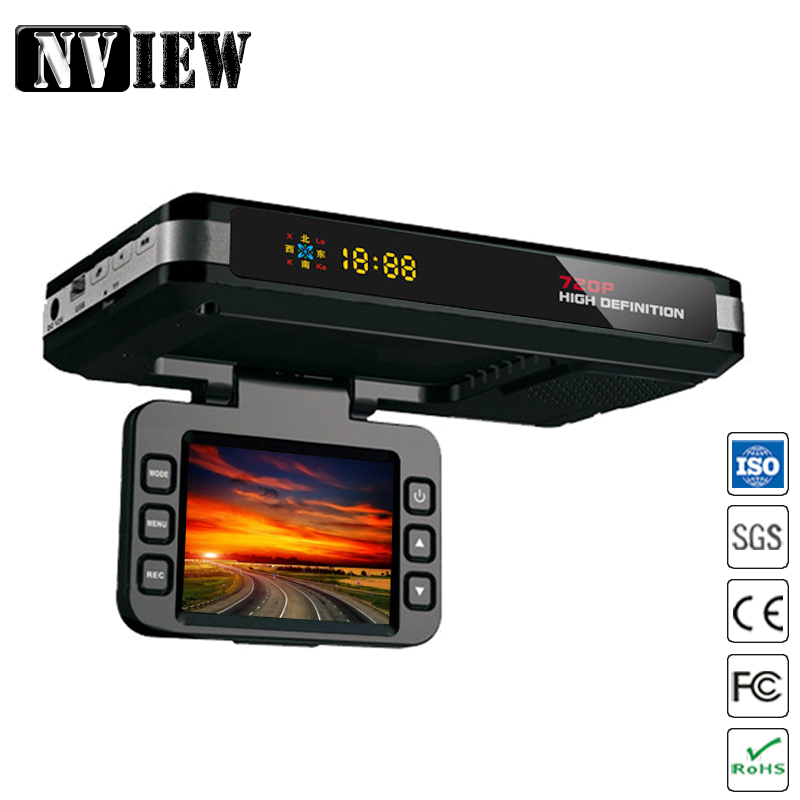 "NVIEW Multi-function 3in1 Car DVR Radar Detector Logger Speed HD 720P LED Display Built-in GPS Logger <font><b>2.0</b></font>""LCD Multi-language"