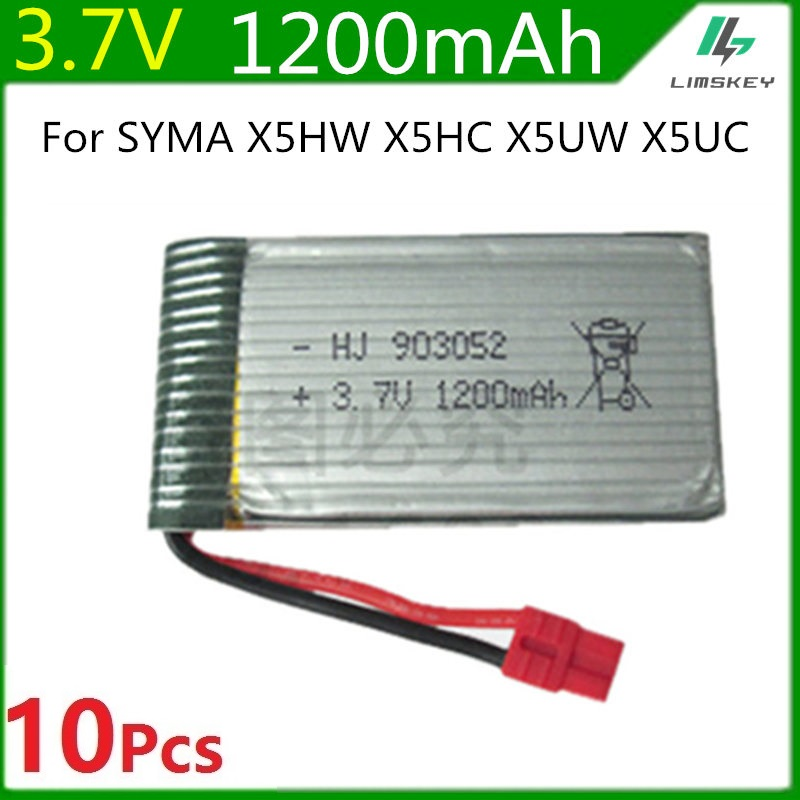 3.7V 1200mah Lipo Battery For Syma X5HC X5HW RC Quadcopter Spare Parts 3.7V Battery RC Camera Drone Accessories 10pcs/lot vho power syma x8w rc drone lipo battery 5pcs 2s 7 4v 2500mah and eu charger for syma x8c x8w x8g x8hg rc helicopter spare parts