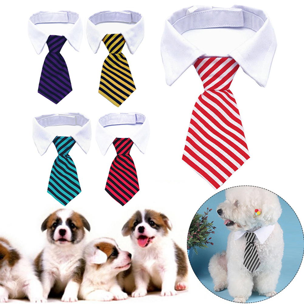 1PC Pet Dog Formal Necktie Tuxedo Bow Tie Striped Collar For  Medium Large Dogs Cat Puppy Dog Bow Tie Collar Dog Accessories
