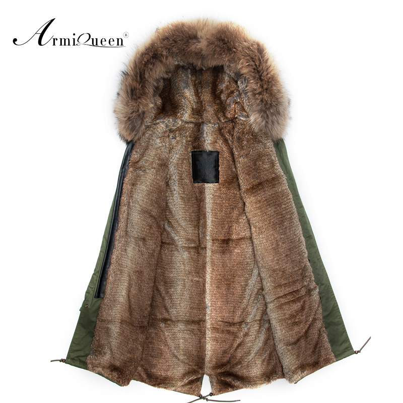 men faux rabbit fur long coat  2015 Fashion men real Fur Collar Long Style Rabbit Fur Coat Winter Overcoat  Free Shipping