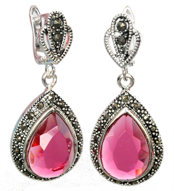 Fashion Faceted Red Ruby Gemstone Marcasite 925 Sterling Silver Boucles d/'oreilles