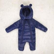 ed61b51dd 2017 Rusia invierno mono mamelucos calientes chica con capucha invierno  abrigo sólido nieve los monos mamelucos del bebé recién .