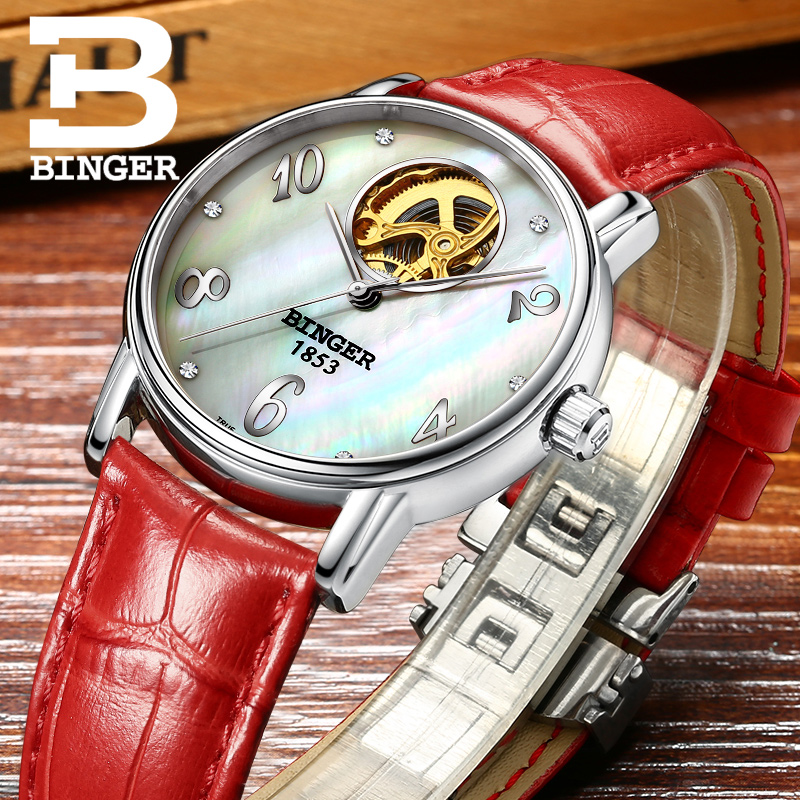Top Brand BINGER Fashion Casual Watch Female Form Hollow Automatic Mechanical Watches Self-Winding Women waterproof leather top brand binger fashion casual watch female form hollow automatic mechanical watches self winding women waterproof leather