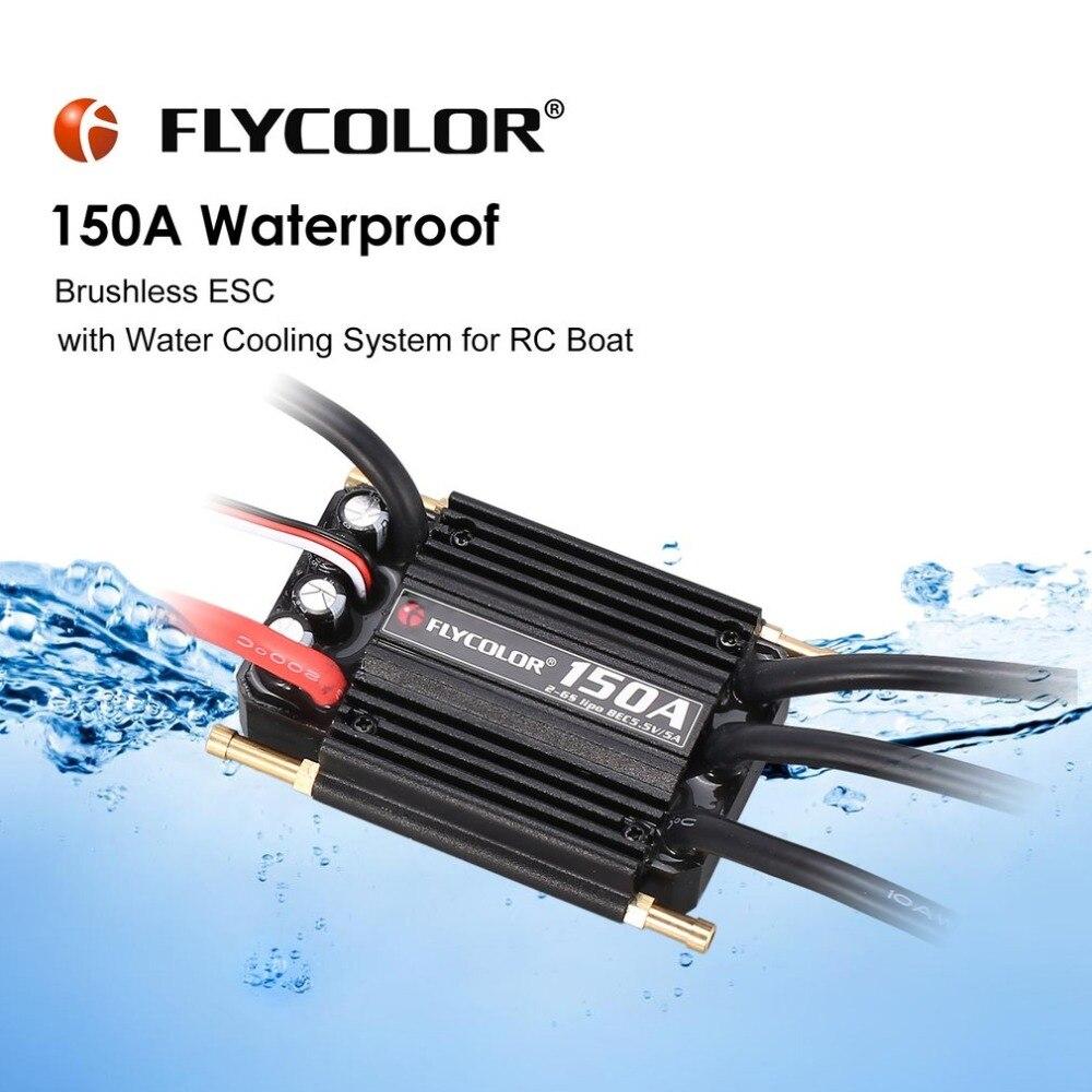 FLYCOLOR 2-6 originais S 120A150A Brushless Controlador de Velocidade ESC para RC Barco Navio À Prova D' Água com BEC 5.5V /5A Sistema de Refrigeração a Água
