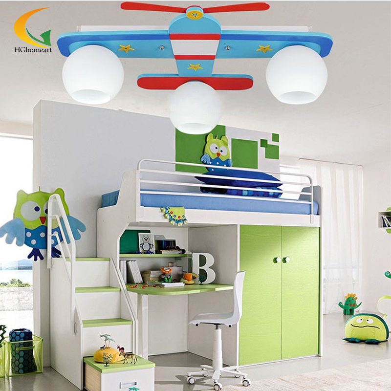 Plane Model Children S Bedroom Ceiling Lights Boy Room Lamps Glass Wood Creative Rural Cartoon Kids