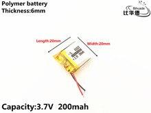 1 pçs/lote 3.7 V, 200 mAH, 602020 Polímero de íon de lítio/bateria de Iões de lítio para o BRINQUEDO, BANCO DO PODER, GPS, mp3, mp4