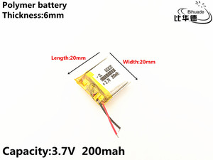 Image 1 - 1pcs/lot 3.7V,200mAH,602020 Polymer lithium ion / Li ion battery for TOY,POWER BANK,GPS,mp3,mp4