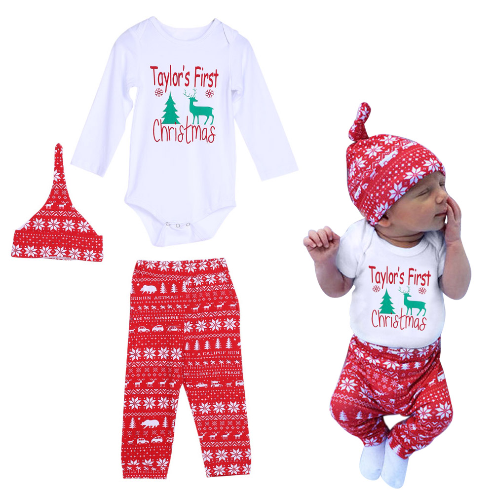 3 Pcs Newborn Kids Baby Girl Boy Letter Christmas Outfit Set Infant ...