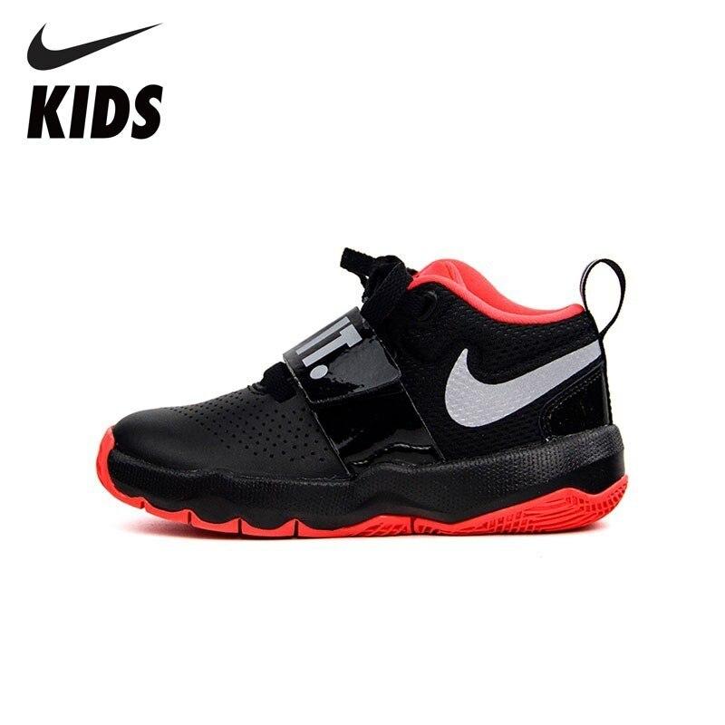 NIKE Kids TEAM HUSTLE D 8 JDI (PS) New Arrival Sweat-absorbent Cacaul Sneakers Big Kids Outdoor Running Shoes AQ9976-001 кроссовки nike team hustle d 8 gs basketball shoe boys 881941 301